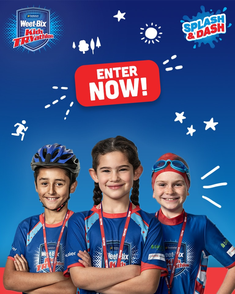3 kids that have participated in the Weet-Bix Kids TRYathlon